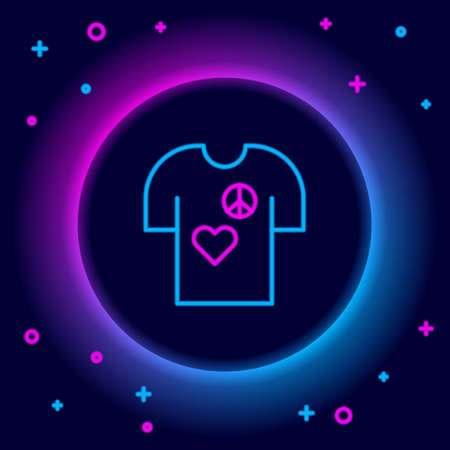 Glowing neon line Peace symbol t-shirt print stamp icon isolated on black background. Colorful outline concept. Vector Vetores