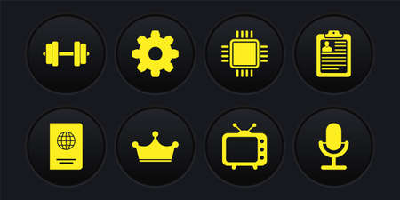 Set Passport, Clipboard with resume, Crown, Television tv, Processor CPU and Cogwheel gear settings icon. Vector 矢量图像
