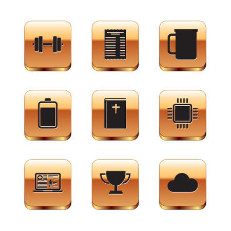 Set Dumbbell, Medical clinical record, Trophy cup, Holy bible book, Battery and Coffee icon. Vector 矢量图像