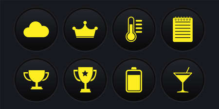 Set Trophy cup, Notebook, Battery, Thermometer and Crown icon. Vector 矢量图像