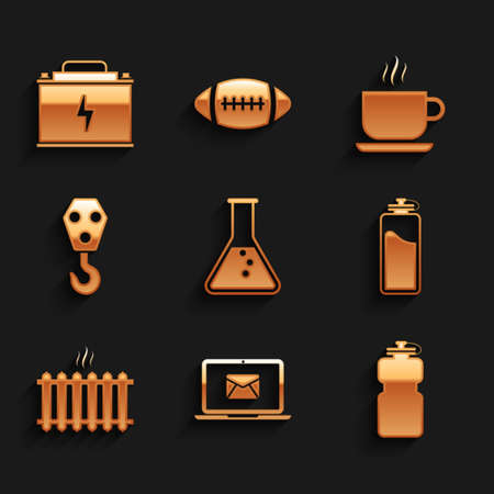 Set Test tube and flask, Laptop with envelope, Sport bottle water, , Heating radiator and Industrial hook icon. Vector