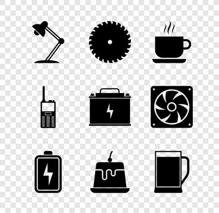 Set Table lamp, Circular saw blade, Coffee cup, Battery, Pudding custard and Glass beer icon. Vector 矢量图像
