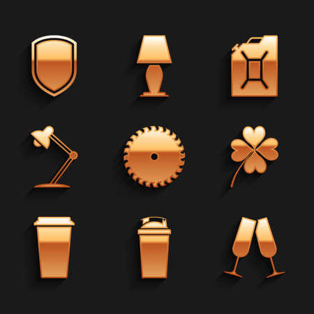 Set Circular saw blade, Fitness shaker, Glasses of champagne, Four leaf clover, Coffee cup and Table lamp icon. Vector