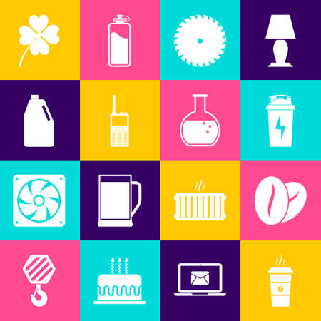 Set Coffee cup, beans, Fitness shaker, Circular saw blade, Walkie talkie and Household chemicals bottle icon. Vector