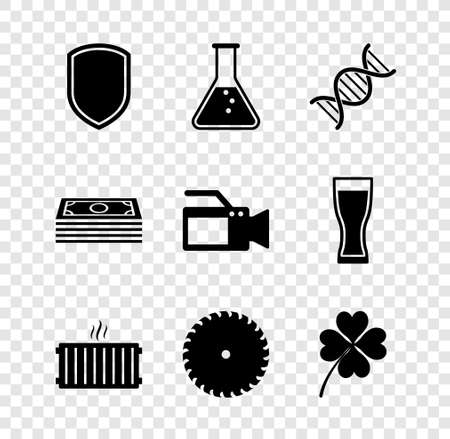 Set Shield, Test tube and flask, DNA symbol, Heating radiator, Circular saw blade and Four leaf clover icon. Vector