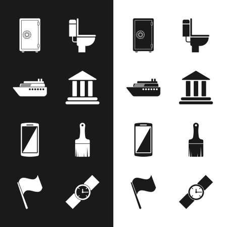 Set Bank building, Ship, Safe, Toilet bowl, Smartphone, mobile phone and Paint brush icon. Vector 矢量图像