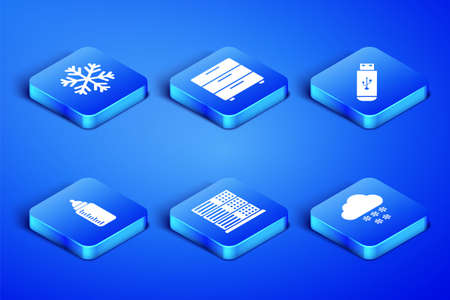 Set Cloud with snow, Snowflake, Server, Data, Web Hosting, Baby bottle, Furniture nightstand and USB flash drive icon. Vector 矢量图像