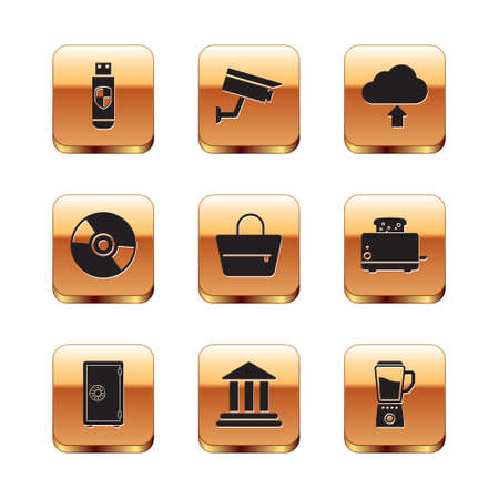 Set USB flash drive and shield, Safe, Bank building, Handbag, CD or DVD disk and Cloud upload icon. Vector 矢量图像