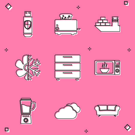 Set USB flash drive and shield, Toaster with toasts, Cargo ship, Air conditioner, Furniture nightstand and Microwave oven icon. Vector