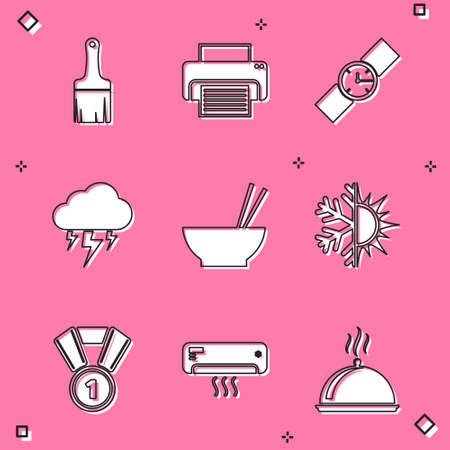 Set Paint brush, Printer, Wrist watch, Storm, Bowl with chopsticks and Sun and snowflake icon. Vector