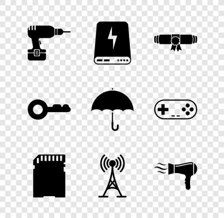 Set Drill machine, Power bank, Diploma rolled scroll, SD card, Antenna and Hair dryer icon. Vector 矢量图像