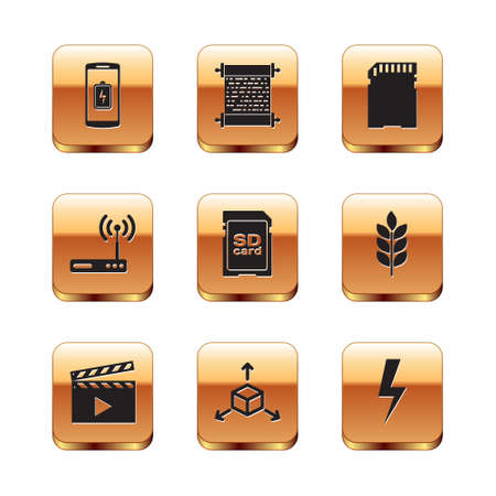 Set Smartphone battery charge, Movie clapper, Isometric cube, SD card, Router and wifi icon. Vector