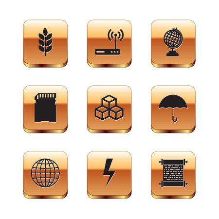 Set Wheat, Earth globe, Lightning bolt, Isometric cube, SD card icon. Vector 矢量图像