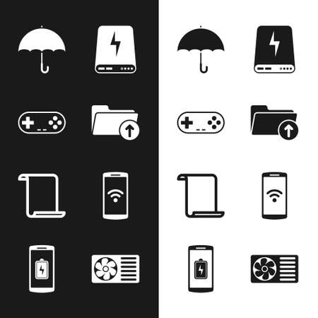 Set Download arrow with folder, Gamepad, Umbrella, Power bank, Paper scroll and Smartphone wireless icon. Vector