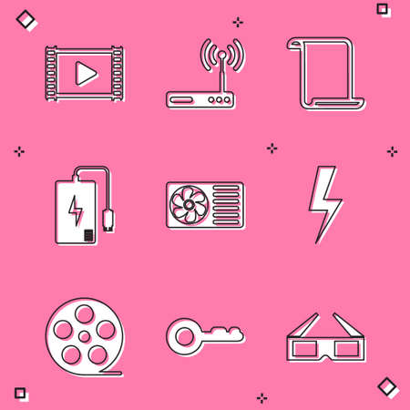 Set Play Video, Router and wifi, Paper scroll, Power bank, Air conditioner and Lightning bolt icon. Vector
