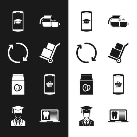 Set Hand truck and boxes, Refresh, Graduation cap on mobile, Coffee pot with cup, beans in bag and Shopping basket icon. Vector 矢量图像