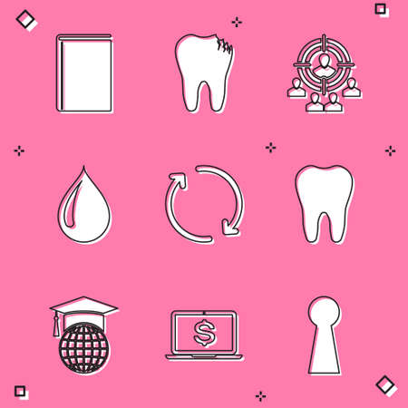 Set Book, Broken tooth, Marketing target strategy, Water drop, Refresh and Tooth icon. Vector