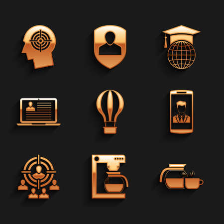 Set Hot air balloon, Coffee machine with pot, cup, Smartphone contact, Marketing target strategy and Laptop resume icon. Vector