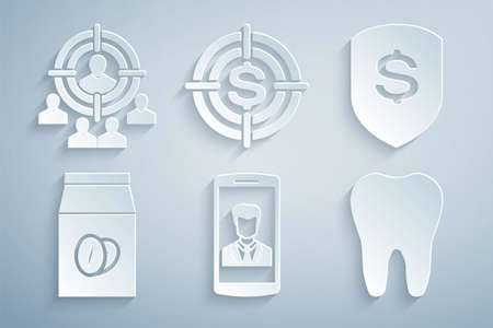 Set Smartphone with contact, Shield and dollar, Coffee beans in bag, Tooth, Target and Marketing target strategy icon. Vector