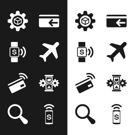 Set Plane, Contactless payment, Product development, Cash back, and Hourglass and gear icon. Vector