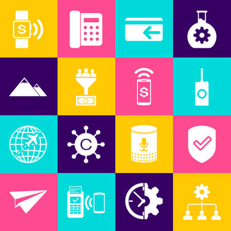 Set Lead management, Shield with check mark, Remote control, Cash back, and Mountains icon. Vector