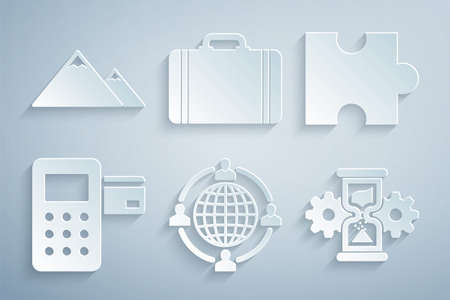 Set Outsourcing concept, Piece of puzzle, Pos terminal, Hourglass and gear, Suitcase for travel and Mountains icon. Vector 矢量图像