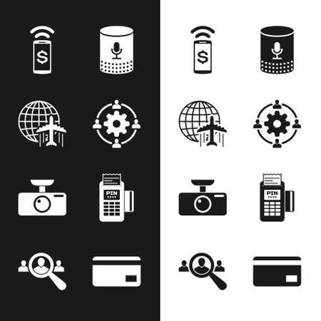 Set Outsourcing concept, Globe with flying plane, Contactless payment, Voice assistant, Car DVR and POS terminal icon. Vector