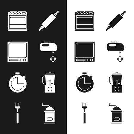 Set Electric mixer, Electronic scales, Oven, Rolling pin, Kitchen timer, Blender, Manual coffee grinder and Fork icon. Vector Vecteurs