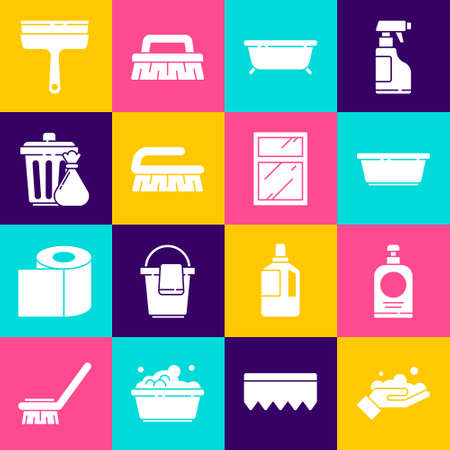 Set Washing hands with soap, Hand sanitizer bottle, Plastic basin, Bathtub, Brush for cleaning, Trash can garbage bag, Rubber cleaner windows and Cleaning service icon. Vector 矢量图片
