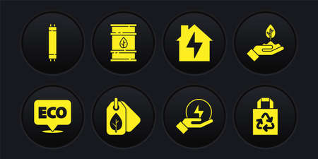 Set Label for eco healthy food, Plant in hand, Tag with leaf, Lightning bolt, House lightning, Bio fuel barrel, Paper bag recycle and Fluorescent lamp icon. Vector