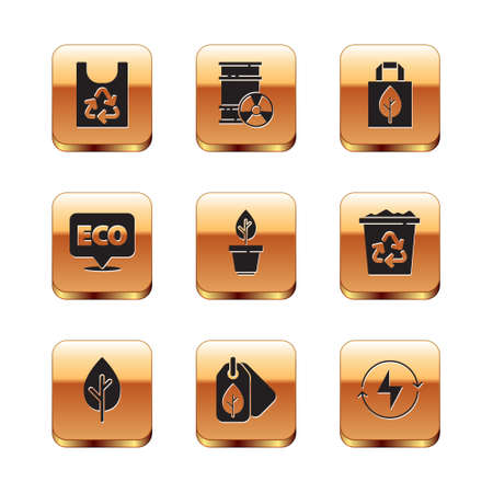 Set Plastic bag with recycle, Tree, Tag leaf, Plant in pot, Label for eco healthy food, Shopping, Lightning bolt and Radioactive waste barrel icon. Vector