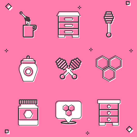 Set Honey dipper stick with honey, Hive for bees, Jar, Honeycomb, and location icon. Vector 矢量图像
