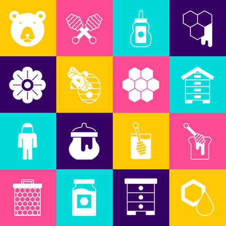 Set Honeycomb, dipper stick with honey, Hive for bees, Jar, Flower, Bear head icon. Vector
