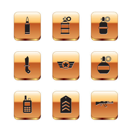 Set Bullet, Walkie talkie,  Star American military, Military knife, Hand grenade, Submachine gun and smoke icon. Vector