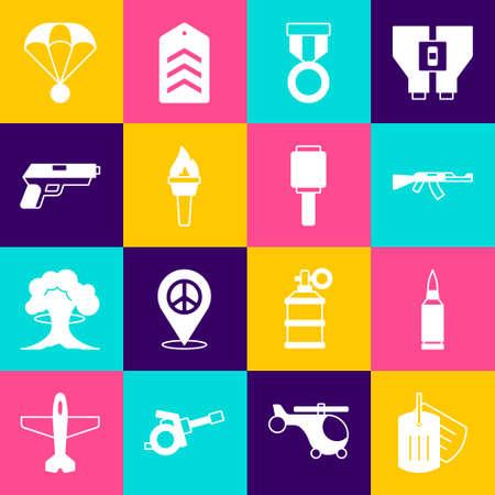Set Military dog tag, Bullet, Submachine gun, reward medal, Torch flame, Pistol, Parachute and Anti-tank hand grenade icon. Vector