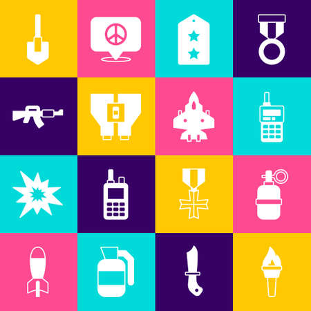 Set Torch flame, Hand grenade, Walkie talkie, Military rank, Binoculars,   Shovel and Jet fighter icon. Vector 矢量图像
