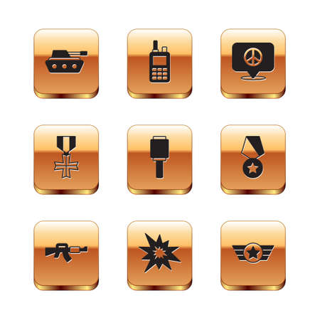 Set Military tank,  Bomb explosion, Anti-tank hand grenade, reward medal, Location peace, Star American military and Walkie talkie icon. Vector