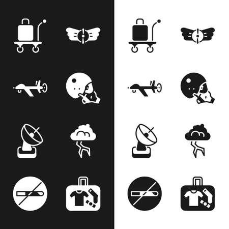Set Modern pilot helmet, UAV Drone, Trolley baggage, Aviation emblem, Radar, Storm, Suitcase and No Smoking icon. Vector 矢量图像