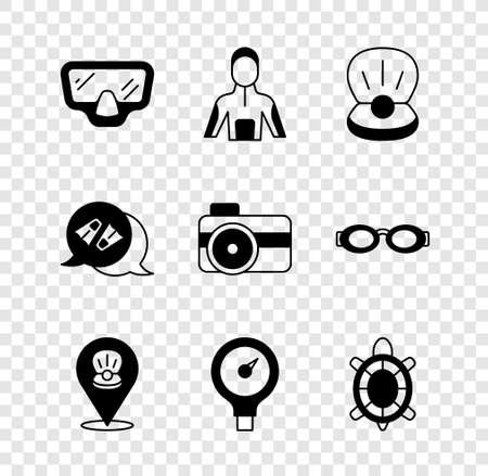 Set Diving mask, Wetsuit for scuba diving, Pearl, Scallop sea shell, Gauge scale, Turtle, Flippers swimming and Photo camera diver icon. Vector