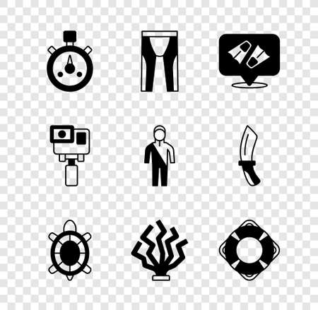 Set Stopwatch, Wetsuit for scuba diving, Flippers swimming, Turtle, Coral, Lifebuoy, Action extreme camera and icon. Vector