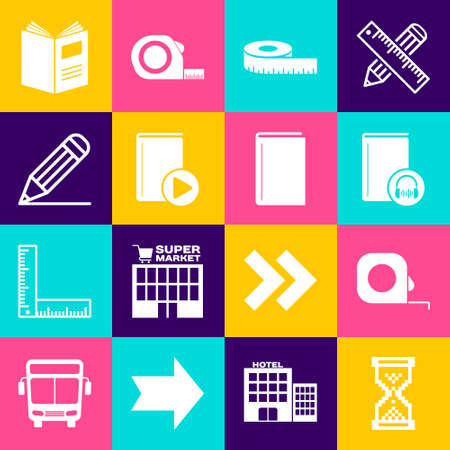 Set Hourglass pixel, Roulette construction, Audio book, Tape measure, Pencil and line, Open and Book icon. Vector