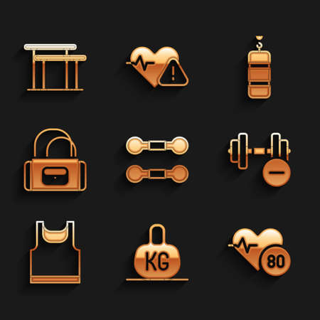 Set Dumbbell, Weight, Heart rate, Sleeveless t-shirt, Sport bag, Punching and Uneven bars icon. Vector Vetores