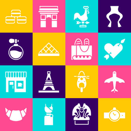 Set Wrist watch, Plane, Amour with heart and arrow, Rooster weather vane, Louvre museum, Perfume, Macaron cookie and French baguette bread icon. Vector Vektorgrafik