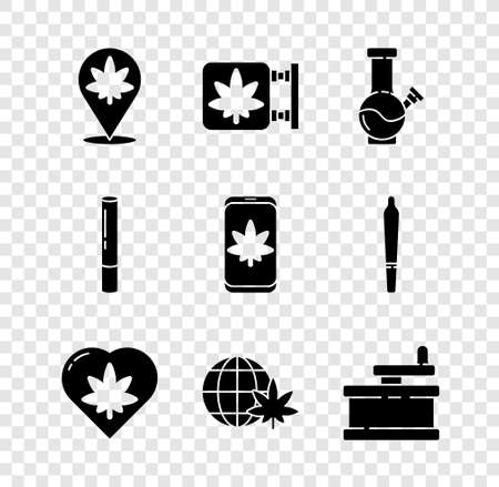 Set Location and marijuana, Marijuana cannabis store, Glass bong for smoking, leaf heart, Legalize globe, Manual grinder, joint and Mobile icon. Vector