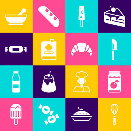 Set Kitchen whisk, Jam jar, Knife, Ice cream, Cookbook, Candy, Mortar pestle and Croissant icon. Vector