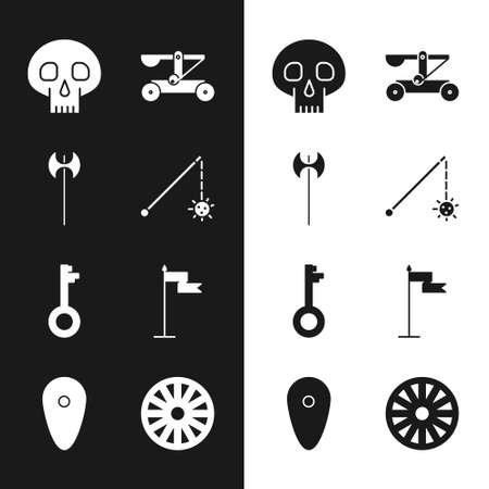 Set Medieval chained mace ball, axe, Skull, Catapult shooting stones, Old key, flag, wooden wheel and Shield icon. Vector Vector Illustratie
