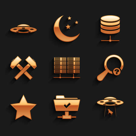 Set Server, Data, Web Hosting, FTP operation successful, UFO abducts cow, Unknown search, Star and Two crossed hammers icon. Vector