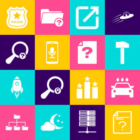 Set Unknown document, Car wash, Hammer, Open in new window, Mobile recording and search icon. Vector