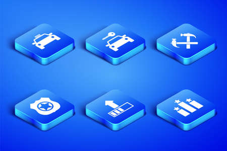 Set Ranking star, Taxi car, Loading, Police badge, Car rental and Two crossed hammers icon. Vector Vettoriali