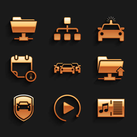 Set Cars, Video play button, Music book with note, FTP folder upload, protection or insurance and Calendar and clock icon. Vector Vettoriali